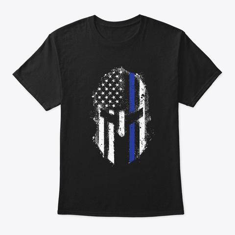 Thin Blue Line Spartan T Shirt Black T-Shirt Front