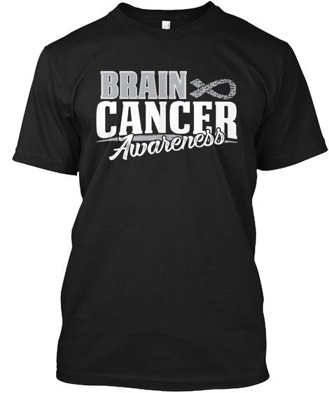 Brain Cancer Awareness T Shirt  Black T-Shirt Front