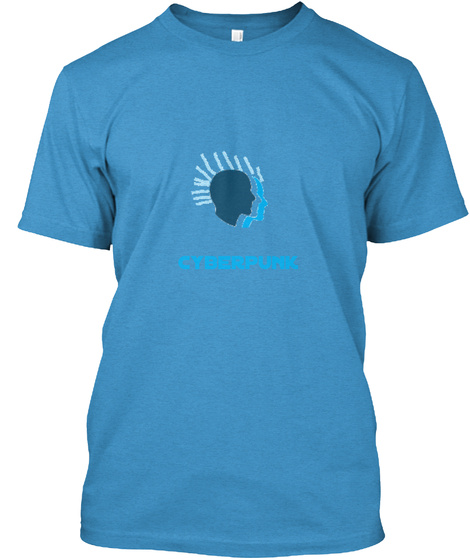 Cyberpunk Heathered Bright Turquoise  T-Shirt Front