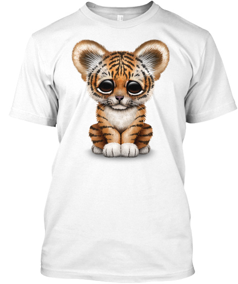 Cute Baby Tiger Cub White T-Shirt Front