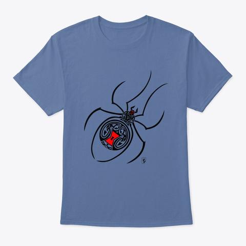 Tribal Pattern Spider Denim Blue T-Shirt Front
