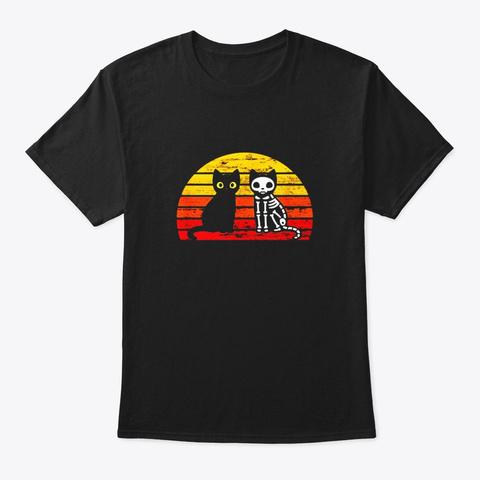 Retro Vintage Funny Cats Halloween Black T-Shirt Front