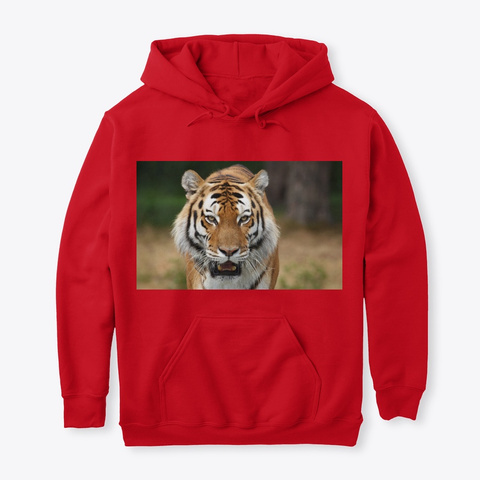 Tiger On A Tees Red T-Shirt Front