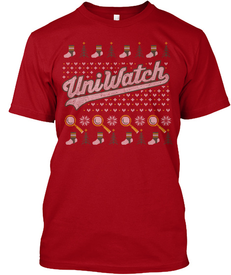 Uniwatch Ugly Sweater 15 Deep Red T-Shirt Front