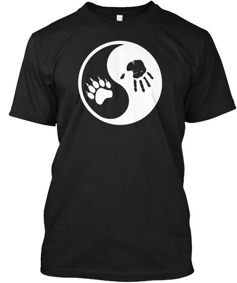 Yinyang Wolf Paw Print T Shirt Black T-Shirt Front