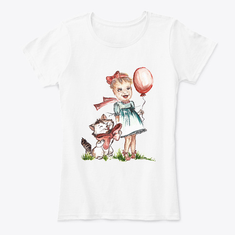 Little Girl With Red Balloon Watercolor White T-Shirt Front