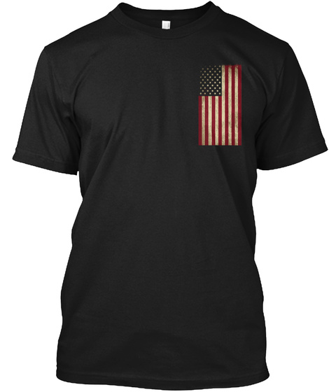 Try Stepping On This One, American Flag Black T-Shirt Front