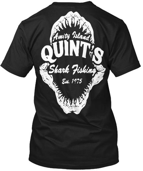 Aunity Island Quint's Shark Fishing Ese 1975 Black T-Shirt Back