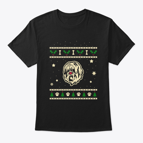 Christmas Schapendoes Gift Black T-Shirt Front