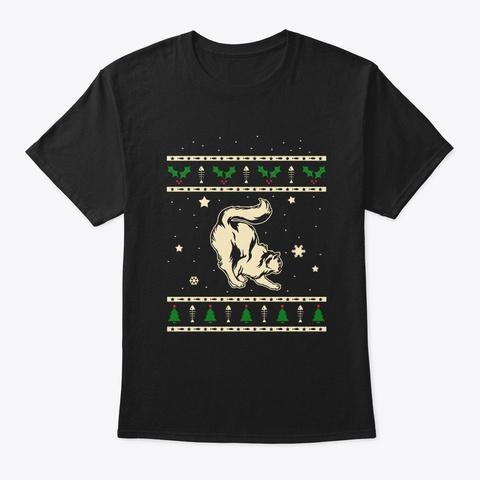 Christmas Domestic Longhair Gift Black T-Shirt Front