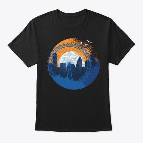 Texas Skyline Houston Cool Souvenir Gift Black T-Shirt Front