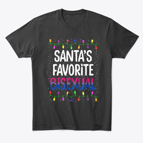 Bisexual Christmas Santa Lights T Shirt Black T-Shirt Front