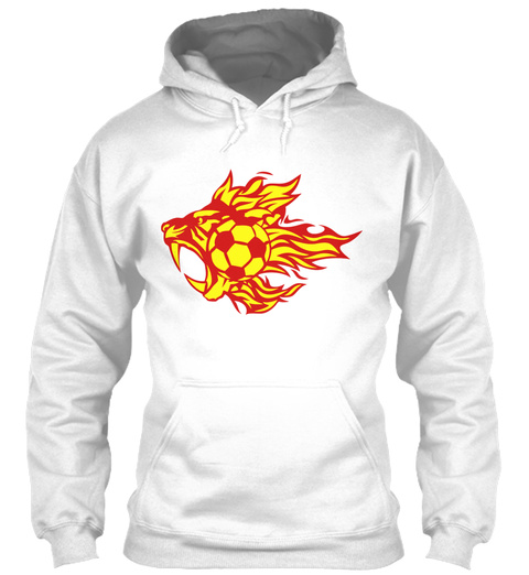Fire Flame Tiger Animal Soccer Logo White T-Shirt Front