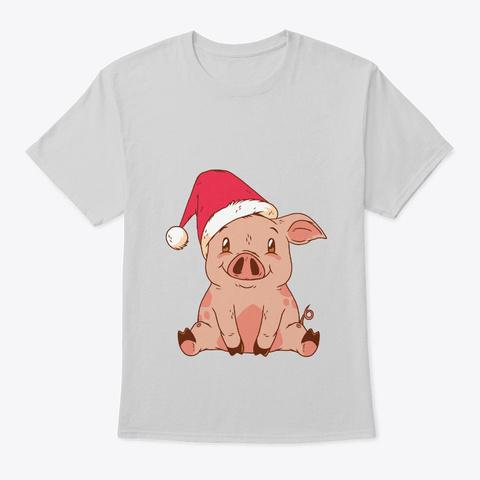 Cute Santa Pig Santa Claus Xmas T Shirt  Light Steel T-Shirt Front