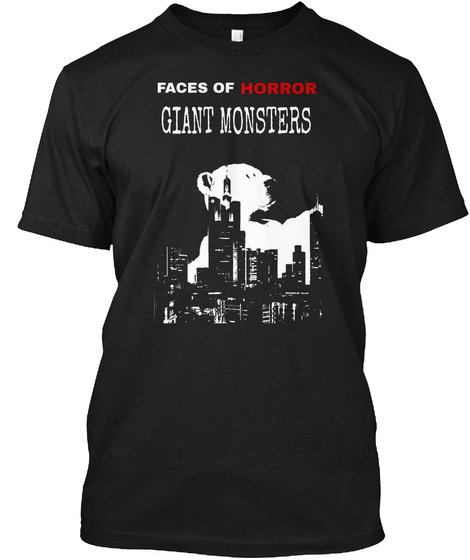 Smm Faces Of Horror: Giant Monster Black T-Shirt Front