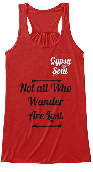 Gupsy Soul Not All Who Wander Are Lost Red Women's Tank Top Front