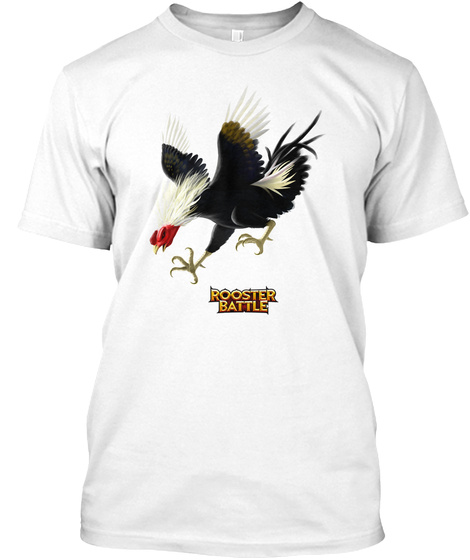 Rooster Battle White T-Shirt Front