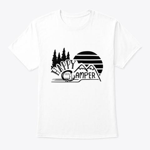 Vintage Retro Sunset Happy Camper White T-Shirt Front