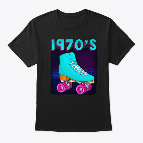 Roller Disco Retro 70s Party Costume Black T-Shirt Front