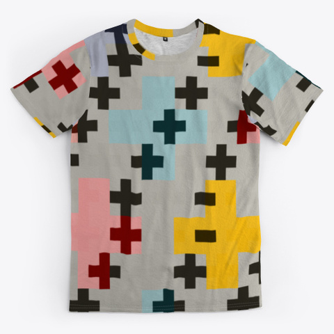 Abstract Pink Multicolor Cross Design Standard T-Shirt Front