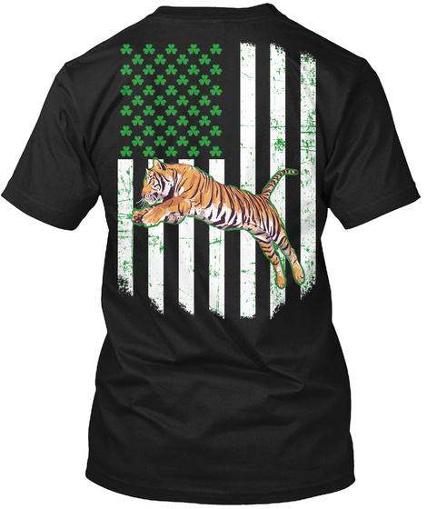 Saint Patricks Day Gift Jumping Tiger Black T-Shirt Back