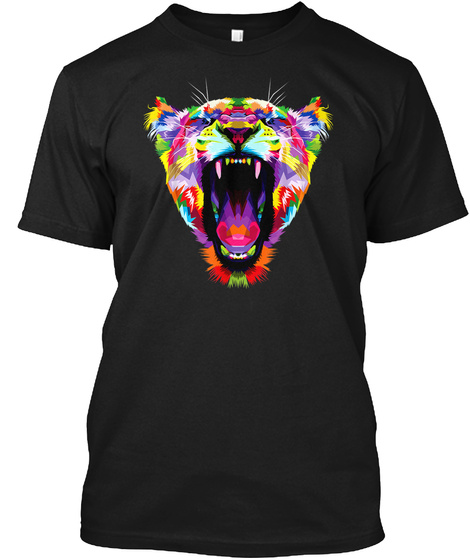 Tiger Shirt : Colorful Angry Tiger Pop A Black T-Shirt Front