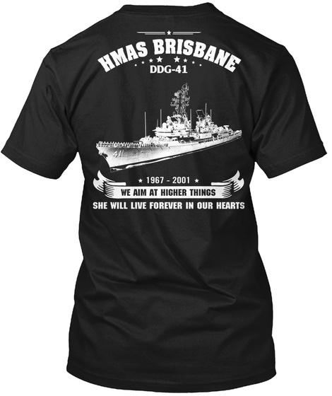 Hmas Brisbane (Ddg 41) Black T-Shirt Back