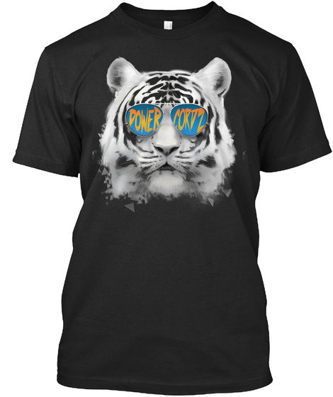 Powercordz Tiger Vintage Black T-Shirt Front