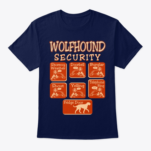 Wolfhound Dog Security Funny Navy T-Shirt Front