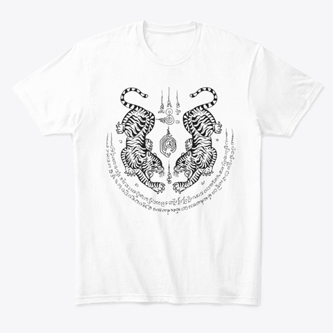 Sak Yant Tattoo   Seau Koo (Twin Tigers) White T-Shirt Front