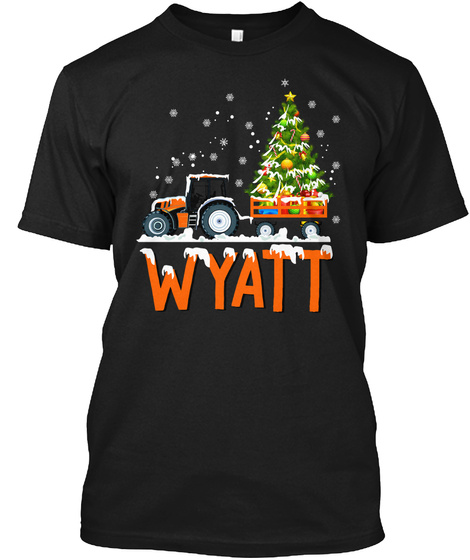 Tractor Merry Christmas Green Tree Black T-Shirt Front