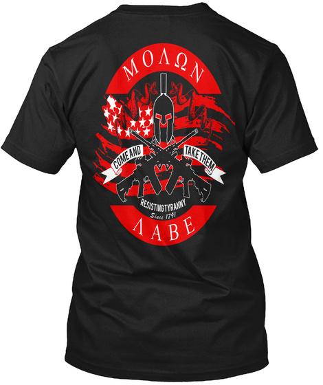 Molon Labe  Come And Take Them Black T-Shirt Back