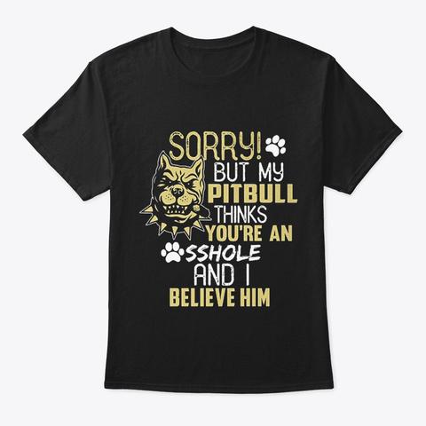 Dog   Pitbull Black T-Shirt Front