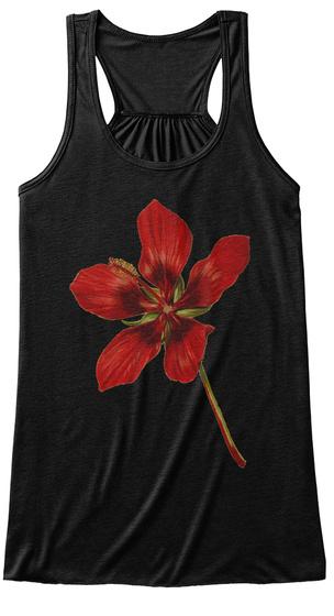Vintage Red Flower Black T-Shirt Front