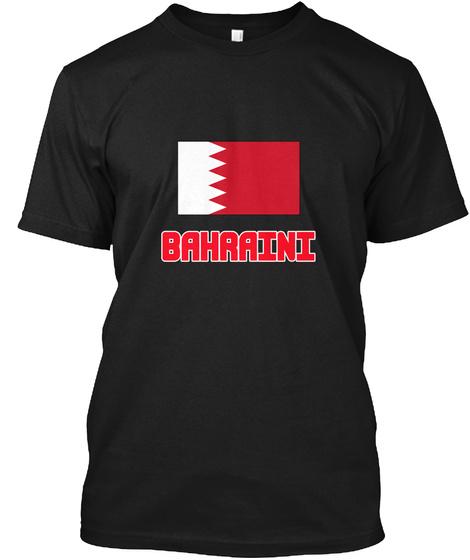 Bahraini Flag Design Black T-Shirt Front