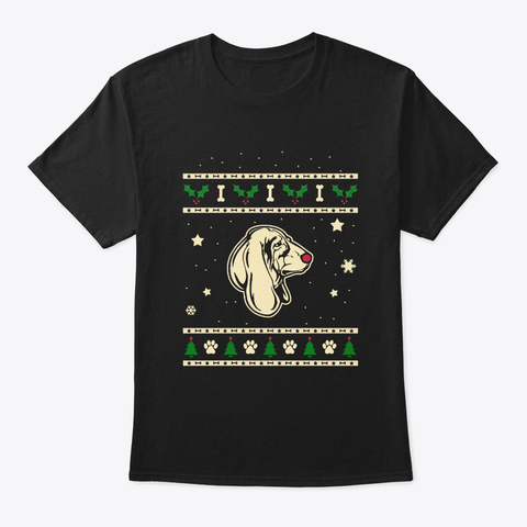 Christmas Basset Hound Gift Black T-Shirt Front