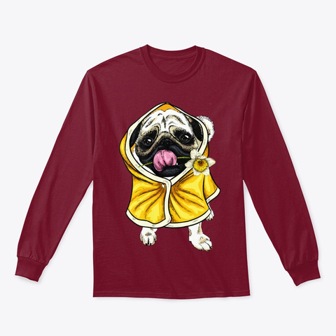 Funny Pug Dog Cute Puggy Lover Cool Xmas Cardinal Red T-Shirt Front