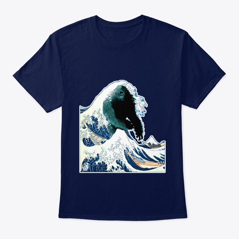 The Great Bigfoot Wave Classic Art Paint Navy T-Shirt Front