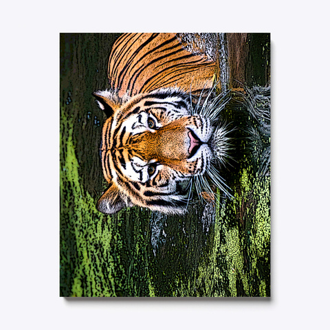 Tiger In Water Canvas Print White T-Shirt Front