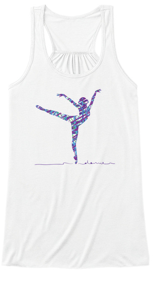 Ballet Pointe Arabesque Dancer Fitness  White T-Shirt Front