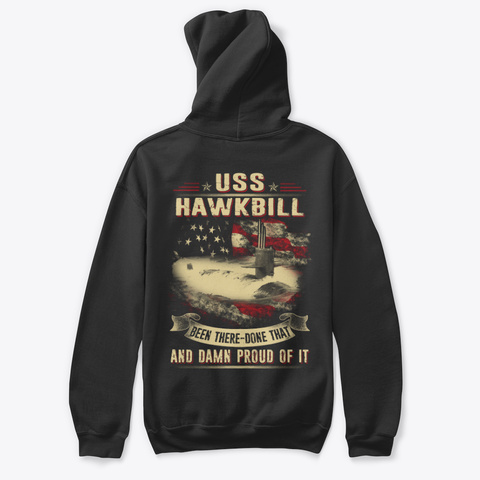 Uss Hawkbill (Ssn 666) Hoodie Black T-Shirt Back
