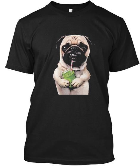 Pugs Not Drugs Drinking Team Black T-Shirt Front