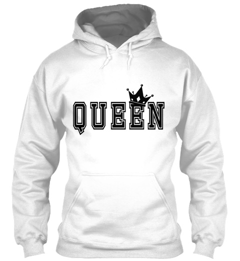 Valentines Matching Couples Queen Crown White T-Shirt Front