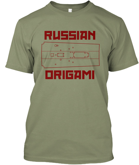 Russian Origami Light Olive T-Shirt Front