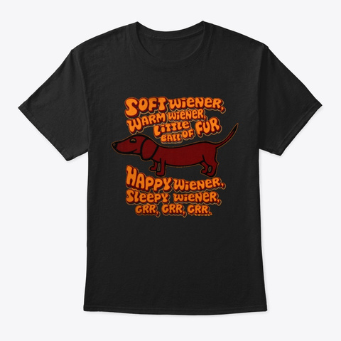 Wiener Dog Black T-Shirt Front