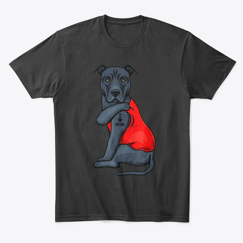 Pitbull Terrier Dog I Love Mom Tattoo Black T-Shirt Front