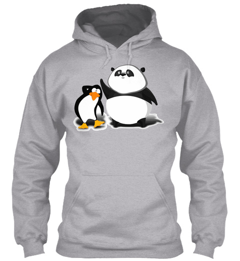 Panda Penguin Sport Grey T-Shirt Front