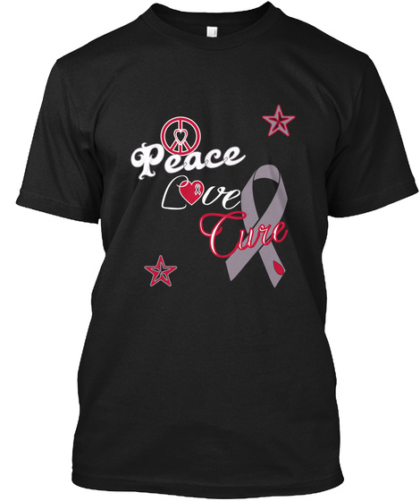 Peace Love Cure Black T-Shirt Front