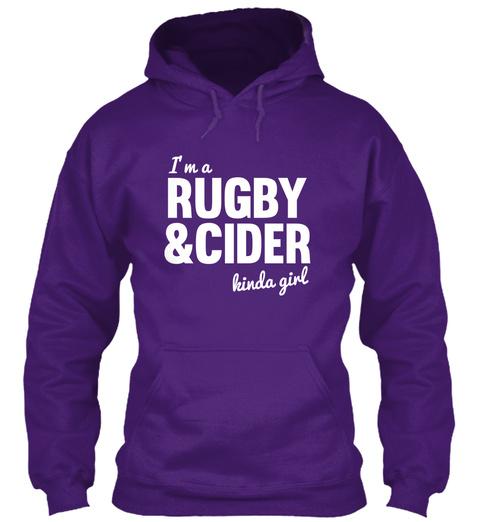I'm A Rugby & Cider Kinda Girl Purple T-Shirt Front