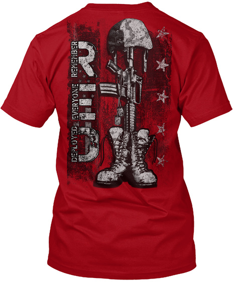 Red Remember Everyone Deployed Deep Red T-Shirt Back